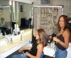Kadeřnictví česání a sušení vlasů, aby klient v beauty salonu nebo kadeřnictví