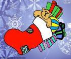 Vánoční ponožka plná dárků