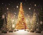 Velké zlaté vánoční strom