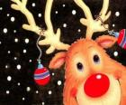 Vedoucí Rudolf, červený nos soba, zdobené vánoční ozdoby