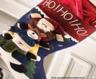 Ponožky s vánoční ozdoby a dárky