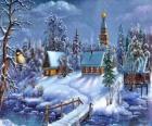 Kostel na Vánoce s fir pod hvězdami