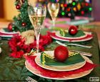 Stůl zdobené na oslavu Vánoc