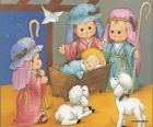 Ježíš v jeslích se Josefa, Marie a pastýř s jeho ovce