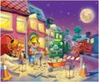 Bob a jeho přátelé v noci trabajano opravu ulice města