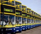 Autobusy z Dublinu na parkovišti