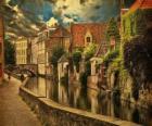 Historického centra města Bruggy, Belgie