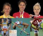 Blanka Vlasic vítěz ve skoku vysokém, Emma Green a Ariane Friedrich (2. a 3.) z Mistrovství Evropy v atletice Barcelona 2010