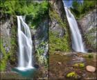 vodopád Saut deth fuj!, mezi 25 a 30 metrů vysoký Údolí Arán, Katalánsko, Španělsko.