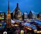 Christkindl trhu Norimberk Německo Bavorsko