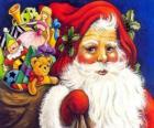 Santa Claus s velkou tašku plnou hraček, aby se děti o Vánocích