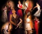Flamenkové tanečnice. Flamenco má svůj původ ve folklóru lidí cikánské a populární kulturu Andalusie, Španělsko