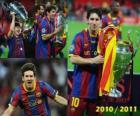 Leo Messi slaví 2010-2011 Ligy mistrů