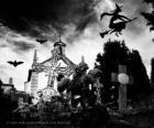 Hřbitov v den Halloween