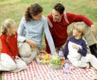 Piknik v přírodě, aby si přírody a potravin