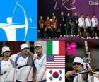 Pódium mužů Lukostřelba týmy, Itálie, Spojené státy a Jižní Korea na jihu - London 2012-