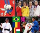 Pódium Judo žen - 48 kg, Sarah Menezes (Brazílie), Alina Dumitru (Rumunsko), škrábání Van Charline (Belgie) a Eva Csernoviczki (Maďarsko) - London 2012 -