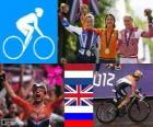 Ženy Silniční cyklistika pódium, Marianne Vos (Nizozemsko) Elizabeth Armitstead (Velká Británie) a Olga Zabelinskaya (Rusko) - London 2012-