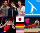 Gymnastika mužů umělecké individuální celkového pódium, Koheii Uchimura (Japonsko), Marcel Nguyen (Německo) a Danell Leyva (Spojené státy) - London 2012-