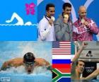 Basen 100 m styl mężczyzn Butterfly dekoracji, Michael Phelps (Stany Zjednoczone), Jewgienij Korotyshkin (Rosja), Chad le Clos (RPA) - London 2012-