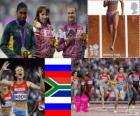 Ženy 800 m atletika pódium, Mariya Savinova (Rusko), Caster Semenyaové (Jižní Afrika) a Ekaterina Poistogova (Rusko), Londýn 2012