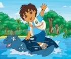 Diego na moři na krunýři mořská želva