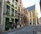 Řadových domů na ulici ve městě nebo město