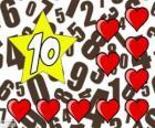Číslo 10 do hvězdy s deseti srdce
