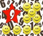 Číslo 9 v hvězda s devíti úsměvy a úsměvy