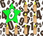 Číslo 8 v hvězda s osmi svíčkami