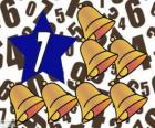 Číslo 7 uvnitř hvězdy se sedmi zvony