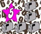 Číslo 5 hvězdy s pěti-mailových schránek