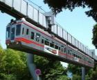 Zavěšené monorail. Cestující s výhledem pouťové monorail