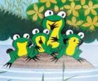 Žáby na kámen ve vodě