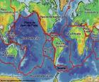 Mapa s 15 významné tektonické desky od země