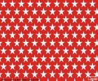 Pěkné vánoční obrázek složený z červené pozadí s bílými hvězdami
