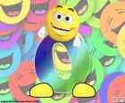 Velké písmeno O s tváří veselý a usměvavý smajlík