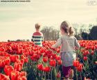 Holky mezi tulipány