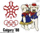 Loga a maskoti Howdy a Hidy zimních olympijských her v roce 1988 v Calgary, Kanada. Zúčastnilo 1423 sportovců z 57 zemí