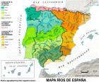 Mapa řek ve Španělsku