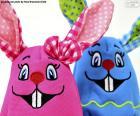 Puzle Velikonoční králíci látky