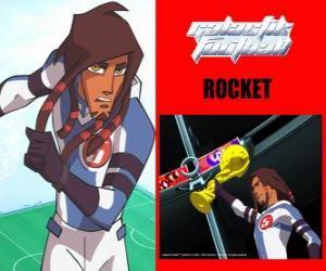 Puzle Rocket je kapitán fotbalového týmu galaktické Snow-Kids s číslem 5