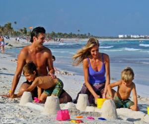 Puzle Rodina na pláži
