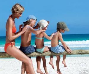 Puzle Rodina použití opalovací krém