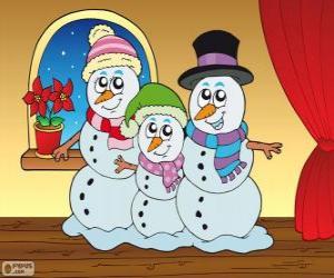 Puzle Rodina sněhuláci