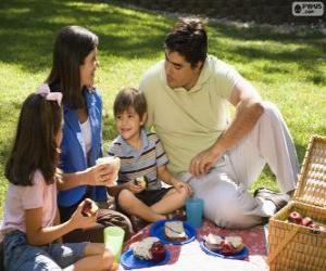 Puzle Rodina v piknik v parku