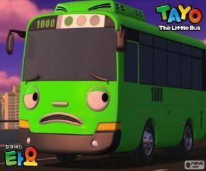 Puzle ROGI je legrační a zlomyslný zelený autobus