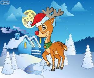 Puzle Rudolf, červená-čichal soby