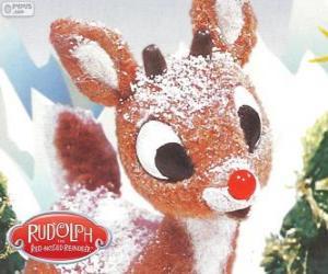 Puzle Rudolfem, málo sobů s červeným nosem