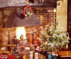 Puzle Rustikální krb zdobené na Vánoce